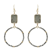 "Grey Natural Stone on Crystal Circle 2.5"" Earring"