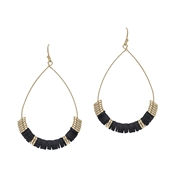 "Black Rubber and Gold 2"" Teardrop Earring"