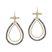 "Grey Crystal and Gold Layered Teardrop 2"" Earring"