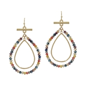 "Multi Crystal and Gold Layered Teardrop 2"" Earring"