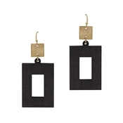 "Black Wood Open Rectangle with Gold 2"" Earring"