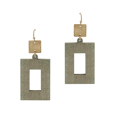 "Grey Wood Open Rectangle with Gold 2"" Earring"