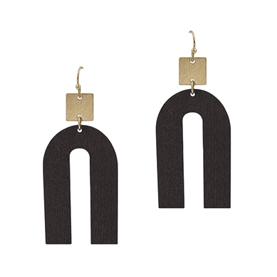 "Black Wood Geometric with Gold 2"" Earring"