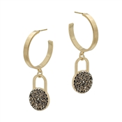 "Gold Hoop with Hematite Rhinestone Pave 1.5"" Earring"