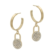 "Gold Hoop with Rhinestone Pave 1.5"" Earring"