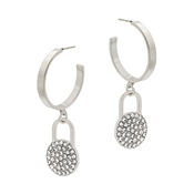 "Silver Hoop with Rhinestone Pave 1.5"" Earring"