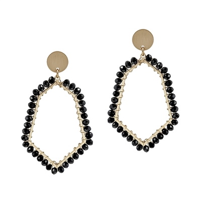 "Black Crystal Wrapped Geometric Stud 2"" Earring"