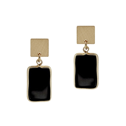 "Gold Rectangle with Black Natural Stone 1.25"" Earring"