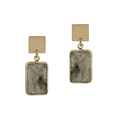 "Gold Rectangle with Grey Natural Stone 1.25"" Earring"