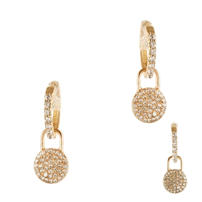Gold Rhinestone Hoop with Pave Drop Huggie Earring