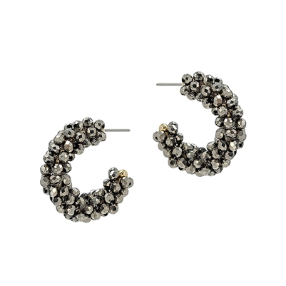 "Grey Crystal Beaded 1"" Hoop Earring"