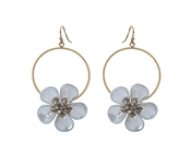 "Gold Hoop with Grey Acrylic Flower 1.5"" Earring"