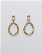 "Crystal Stud with Worn Gold Link Teardrop 2.25"" Earring"