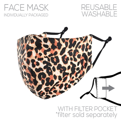 Leopard Print Face Mask with Filter Pocket