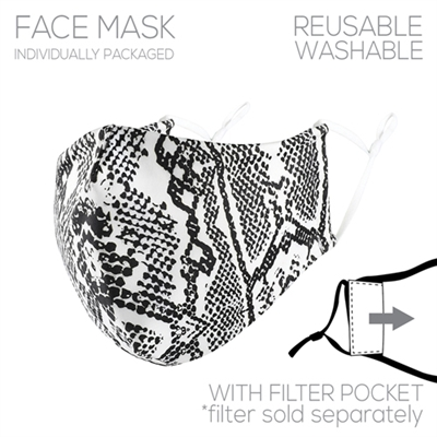 Snake Print Face Mask with Filter Pocket