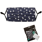 Blue Fabric with White Star Face Mask with Filter Pocket