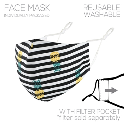 Fabric Multi Black and White Stripped with Pineapple Face Mask with Filter Pocket