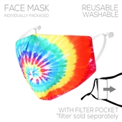 Fabric Multi Tie dye Face Mask with Filter Pocket