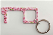 Pink Floral No Touch Door Key Ring