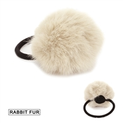 Beige Fur Pom Pom Hair Tie, Best  Seller