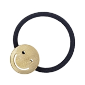 Gold Smile Accent on Black Hair Tie