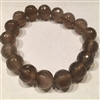 Natural Facet 12mm Brown Agate Stretch Bracelet