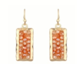 Peach rectangle Earring