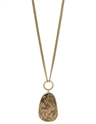 "Gold Chain with Brown Snake Print Teardrop 32"" Necklace"