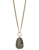 "Gold Chain with Grey Snake Print Teardrop 32"" Necklace"