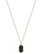 "Black Natural Stone Hexagon 16""-18"" Necklace"