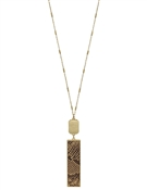 "Gold Rectangle and Brown Snake Print 34"" Necklace"