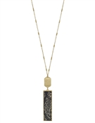 "Gold Rectangle and Grey Snake Print 34"" Necklace"