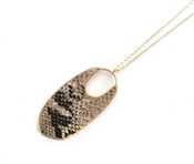 "Snake Print Pointed Oval Drop 34"" Necklace"