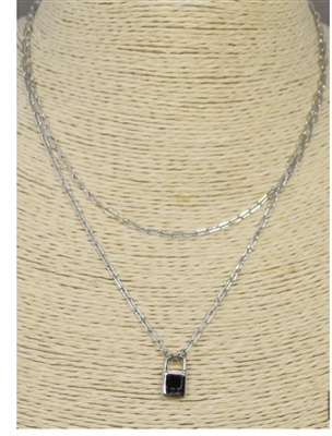 "Silver Chain 2 Layered Lock 16""-18"" Necklace"