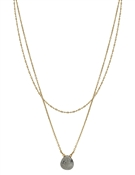 "Matte Gold Layered Grey Natural Stone 16""-18"" Necklace"
