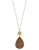 "Brown Cork and Gold Teardrop 34"" Necklace"