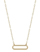 "Matte Gold Open Oval 16""-18"" Necklace"