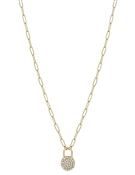 "Gold Chain with Rhinestone Circle Drop 16""-18"" Necklace"