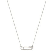 "Matte Silver Safety Pin 16""--18"" Necklace"