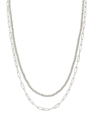 "Silver Two Strand Dainty Chain 16""-18"" Necklace"