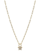 "Gold Chain with Rhinestone Star Charm 16""-18"" Necklace"