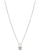"Silver Chain with Rhinestone Star Charm 16""-18"" Necklace"