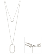 "Silver Open Oval Two Layered 17"", 32"" Necklace"