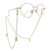 "Gold Chain with Square Charms 32"" Eye Glass Holder"