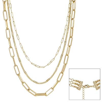 "Gold Three Layered 16""-20"" Necklace (Multi  Function)"