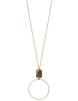 "Snake Print with Gold Circle Drop 32"" Necklace"