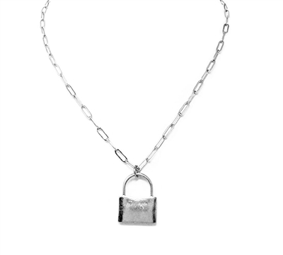 "Silver Chain with Worn Silver Locket 16""-19"" Necklace"