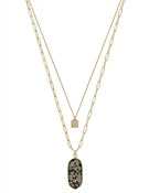 "Dalmatian Geometric Natural Stone Gold Layered 17""-19"" Necklace"