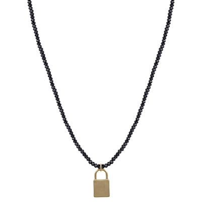 "Black Crystal with Gold Locket 17""-19"" Necklace"