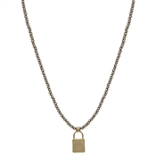 "Light Mocha Crystal with Gold Locket 17""-19"" Necklace"
